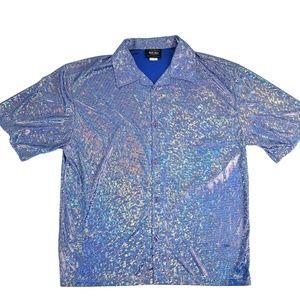 Anchor Blue Sparkle Glitter Shirt Men's XL